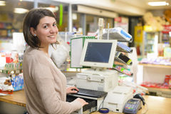 Happy Cashier Stock Photography