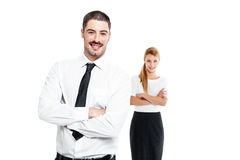 Happy Casual Business Couple Royalty Free Stock Photography