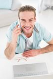Happy casual businessman on the phone Royalty Free Stock Image