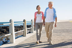 Happy casual couple walking by the coast Stock Photography