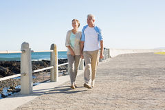 Happy casual couple walking by the coast Stock Photos