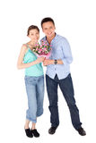 Happy Casual Couple on White Stock Photo