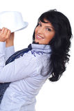 Happy casual executive holding a hat stock images