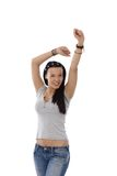 Happy casual girl with hands up Stock Photography