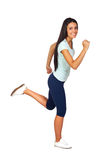 Happy Casual Girl Jogging Stock Photos