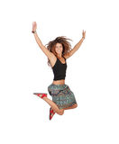 Happy casual girl jumping. Isolated on a white background stock photos