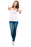 Happy casual girl showing thumbs up Stock Image