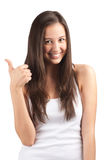 Happy casual girl showing thumbs up Stock Images