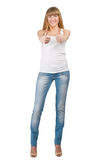 Happy casual girl showing thumbs up Royalty Free Stock Photo