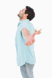 Happy casual man standing with arms out Stock Photos