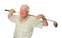 Happy casual mature golfer Stock Photo