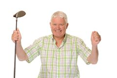 Happy casual mature golfer celebrating Royalty Free Stock Images