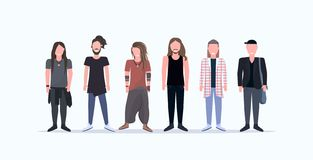 Happy casual men standing together smiling guys with different hairstyles wearing trendy clothes male cartoon characters royalty free illustration