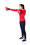 Happy casual woman with boxing gloves. Stock Photography