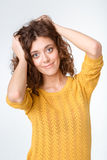 Happy casual woman looking at camera Royalty Free Stock Image