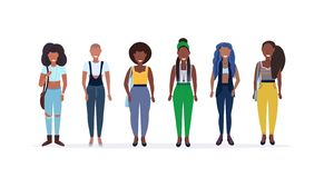 Happy casual women standing together smiling african american ladies with different hairstyle female cartoon characters royalty free stock images