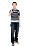 Happy casual young man showing thumb up Royalty Free Stock Photography