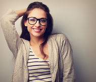 Happy casual young woman in glasses. Vintage portrait Stock Photo