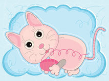 Happy Cat Card_eps. Illustration of cartoon pink cat holding yarn card with blue background Stock Photos