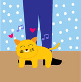 Happy Cat Cartoon. Happy Animals cat love cartoon for website, t-shirt kids, drawing books. wallpaper bedroom Stock Photography