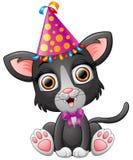 Happy cat cartoon celebrating birthday Royalty Free Stock Photo