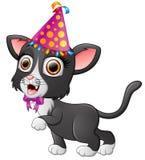 Happy cat cartoon celebrating birthday Stock Photo