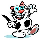 A happy cat cartoon. Cartoon illustration of a laughing black and white cat with whiskers, large blue eyes  and pink ears and black tail, white background Stock Photo