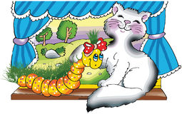 Happy cat and caterpillar by the window. Cartoon illustration Royalty Free Stock Images