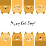 Happy cat day gift card. With red cats Stock Photos