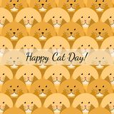 Happy cat day gift card. With many red cats Stock Photos