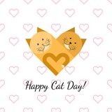 Happy cat day gift card. With two red cats and pink hearts Stock Photography