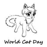 Happy Cat Day. World Cat Day. Happy Cat Day. International Cat Day. Cat sketch is on white background. Vector illustration royalty free illustration