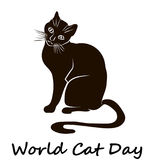 Happy Cat Day. World Cat Day. Happy Cat Day. International Cat Day. Cat sketch is on white background. Vector illustration stock illustration