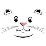 Happy Cat Face. Line art drawing of a cat face in cartoon style Vector Illustration