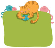 Happy cat frame page. Happy cat with colored wool balls framing page Royalty Free Stock Image
