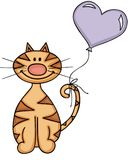 Happy cat with heart balloon Stock Photography