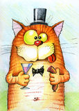 Happy cat holding a sausage and a glass. Cat in the hat with sausage and a glass in his paws Royalty Free Stock Photos