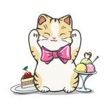 Happy cat, ice cream, and cake stock illustration