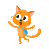 Happy cat, kitten student character with backpack, back to school. Cute little cat, kitten student character with backpack happy to be back to school, cartoon Stock Photo