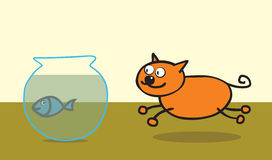 Happy cat like fish. A happy orange cat approaching a poor blue fish in a fish tank. use transparency effect in well layered  file .ai10 Stock Images