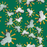 A happy cat in pop art style. Seamless pattern. Funny happy gray-white cat. 10 eps Stock Images
