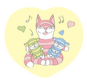 Happy Cat's mom and sleeping kittens Stock Photos