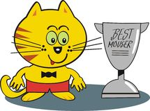 Happy cat with trophy cartoon. Cartoon of smiling yellow cat proudly displaying mousing trophy Royalty Free Stock Image