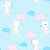Happy cat walk under the rain of love from the heart with an umbrella.  Stock Photos
