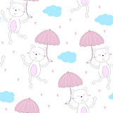 Happy cat walk under the rain of love from the heart with an umbrella.  Stock Photography