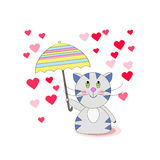 Happy cat walk under the rain of love from the heart. With an umbrella. Vector illustration of a cat with an umbrella Stock Photos