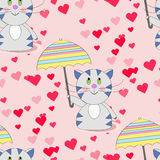 Happy cat walk under the rain of love from the heart. With an umbrella. Vector illustration of a cat with an umbrella Stock Photo