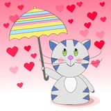 Happy cat walk under the rain of love from the heart. With an umbrella. Vector illustration of a cat with an umbrella Royalty Free Stock Photos