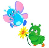 Happy  caterpillar and butterfly. Butterfly and caterpillar  with a flower Royalty Free Stock Photos