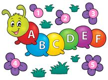 Happy caterpillar with letters theme 1. Eps10 vector illustration Royalty Free Stock Photo